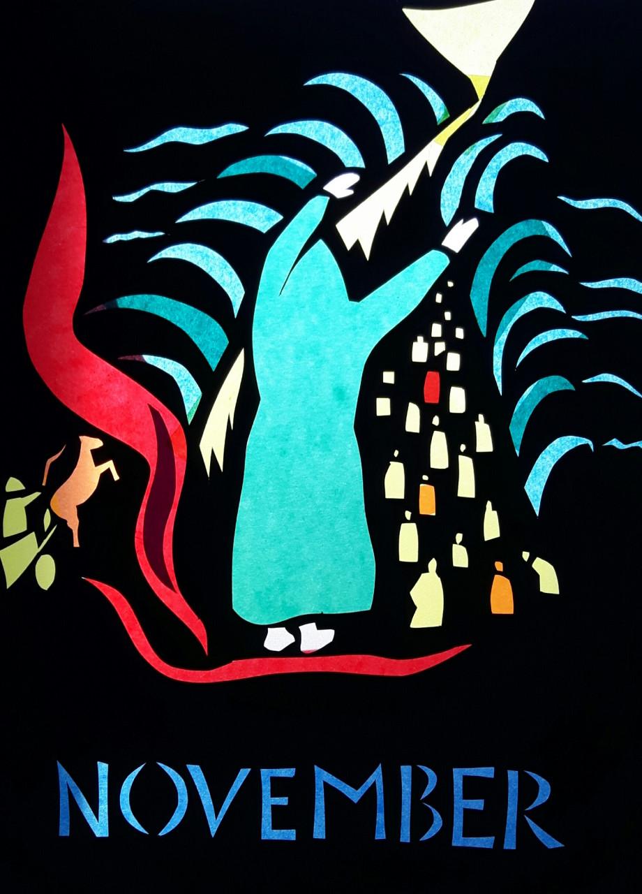 Moses spaltet das rote Meer 1989 Scherenschnitt 35x49cm