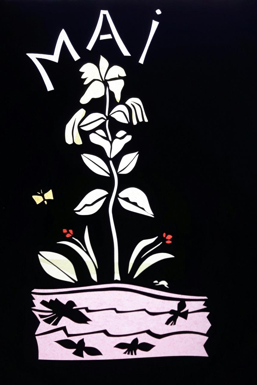 12 Gleichnisse - Die Lilie auf dem Felde 1986 Scherenschnitt 35x49cm