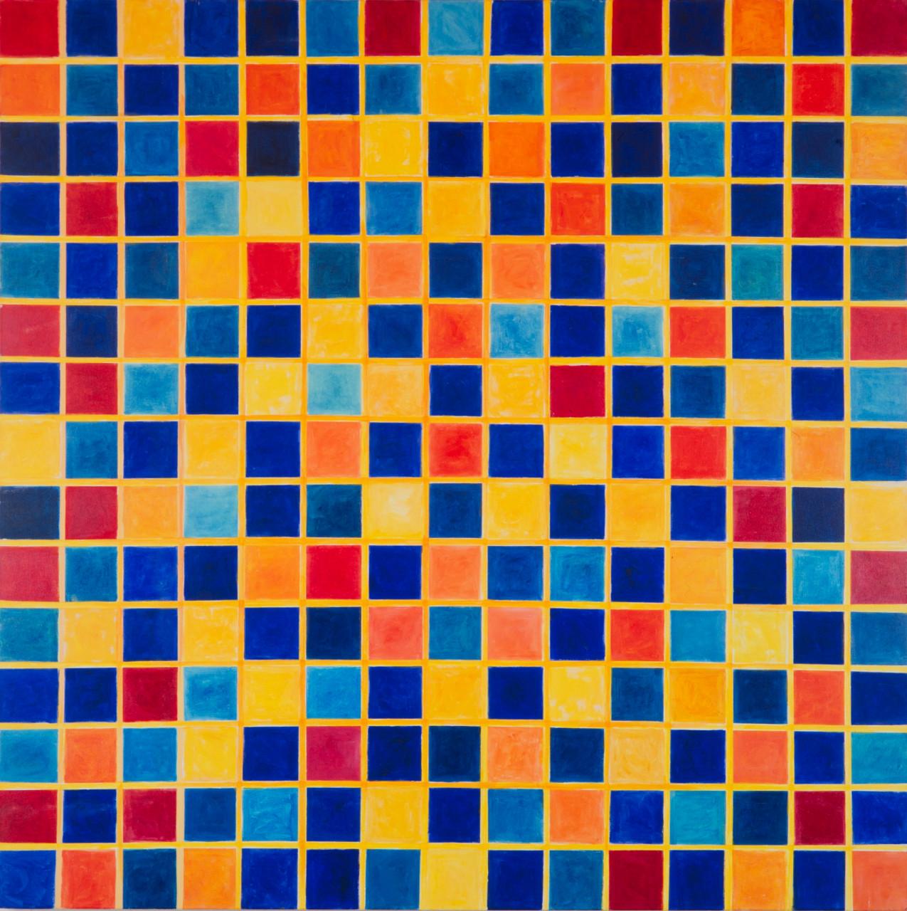 "Komposition (""Symi"") 1997 Öl auf Leinwand 150x150cm"