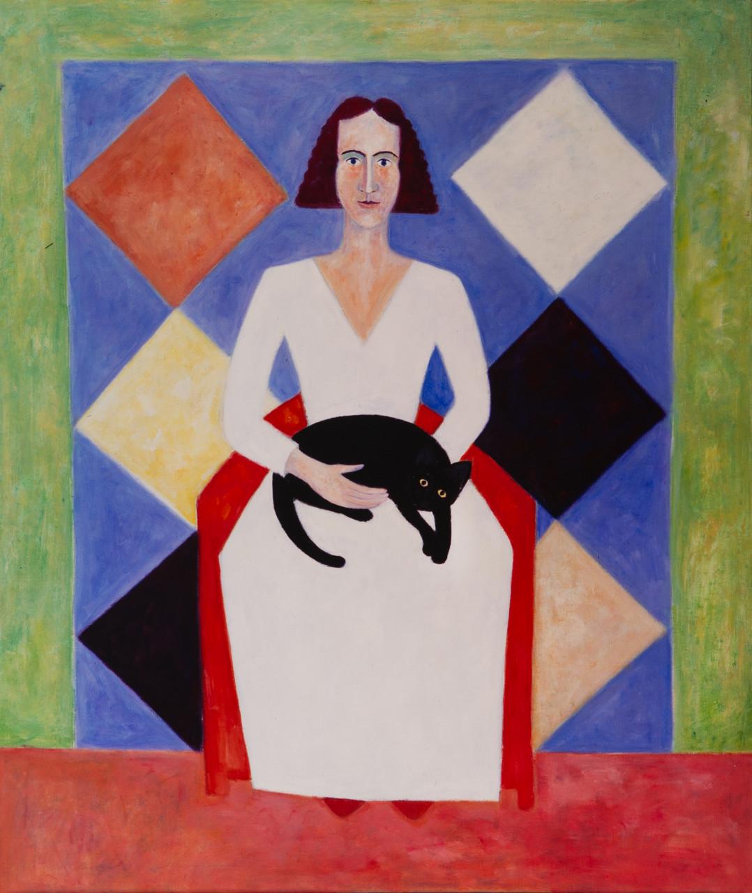 Monika mit Katze 1988 Öl auf Leinwand 100x135cm