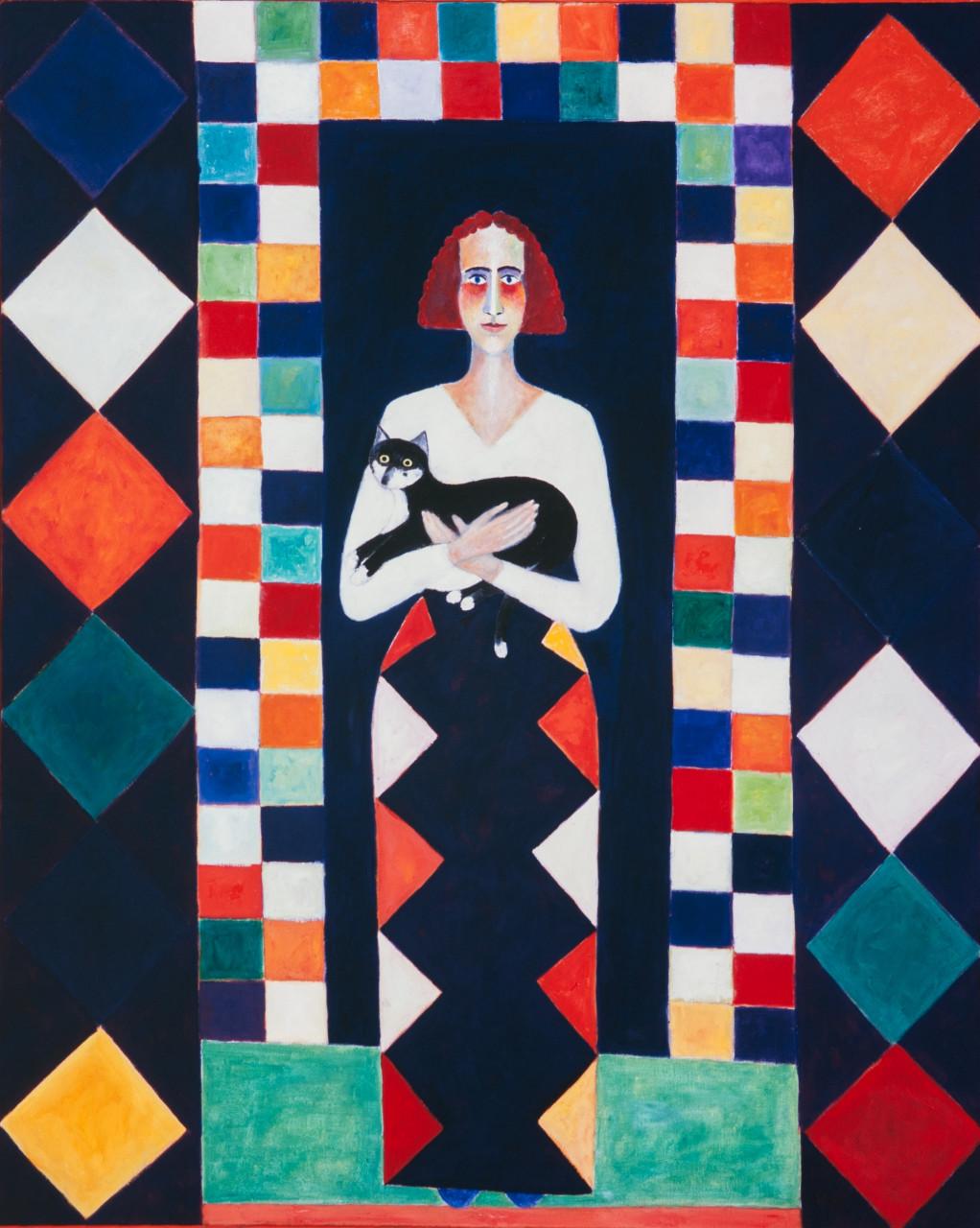 Monika mit Katze 1988 Öl auf Leinwand 110x140cm