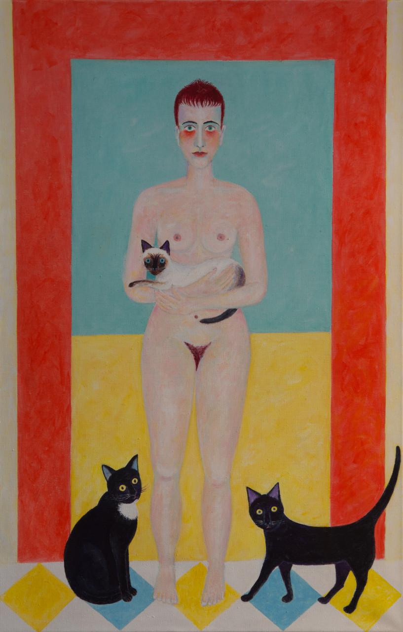 Akt mit Katzen 2015 Acryl auf Leinwand 90x140cm