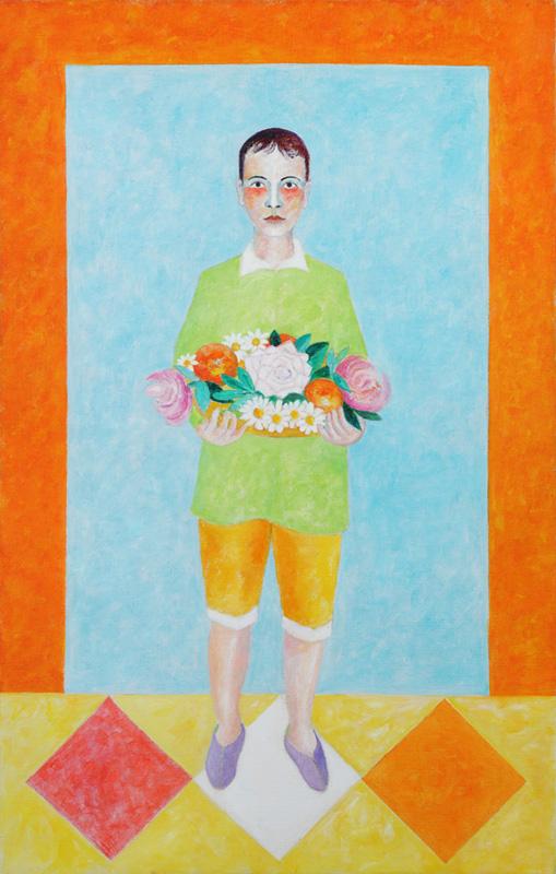Clemens mit Obstschale 2011 Acryl auf Leinwand 100x160cm