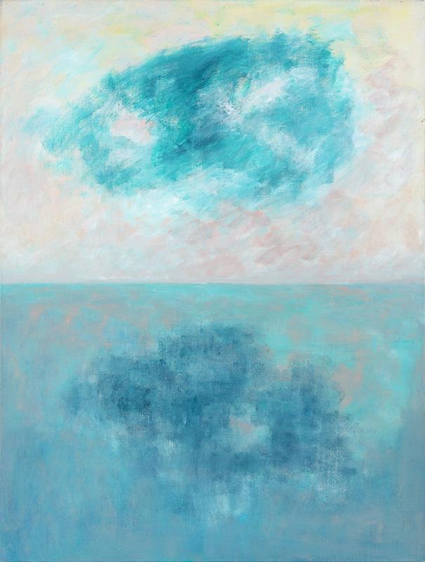 Horizont mit grüner Wolke 2006 Acryl auf Leinwand 90x120cm