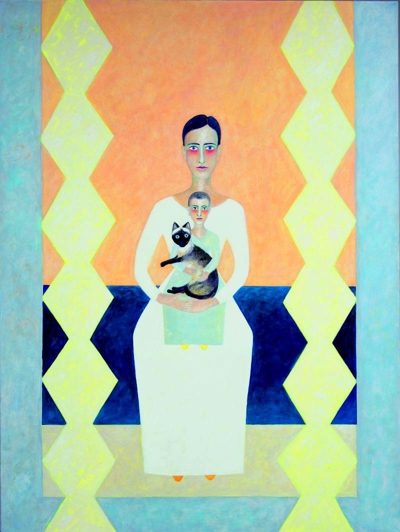 Madonna mit Kind und Katze 2009 Öl auf Leinwand 120x160cm